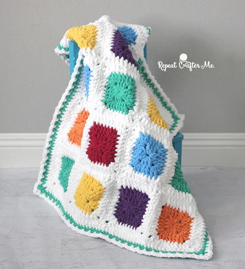 Bright and Bulky Crochet Baby Blanket