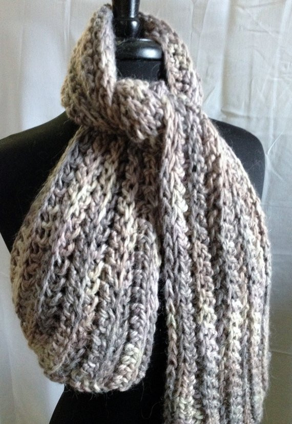 Bulky Yarn Patterns Awesome Items Similar to Bulky Ribbed Scarf Hand Crocheted Of Wonderful 44 Ideas Bulky Yarn Patterns