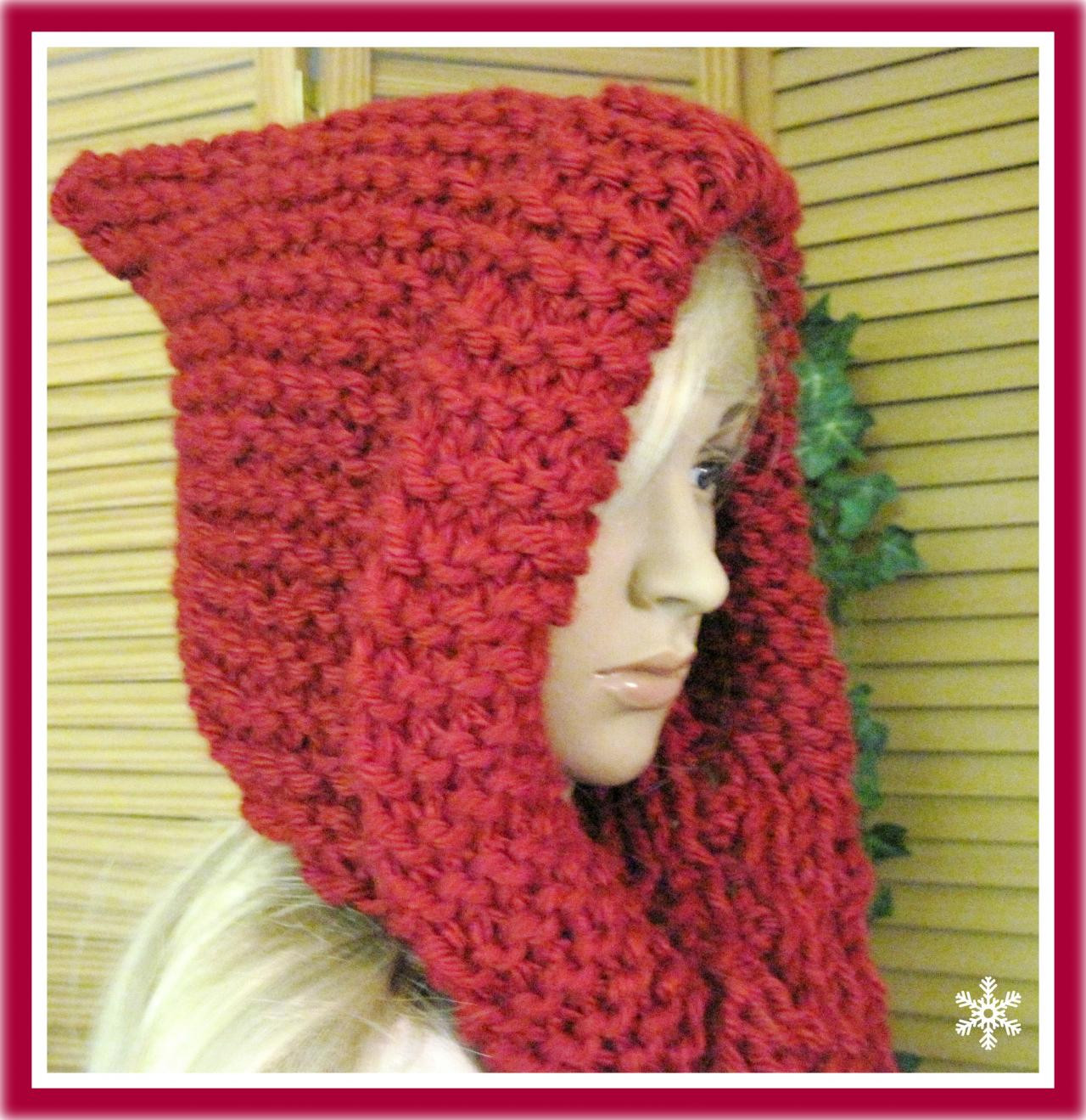 Little Red Riding Hood Hooded Scarf In Bulky Yarn Knitting