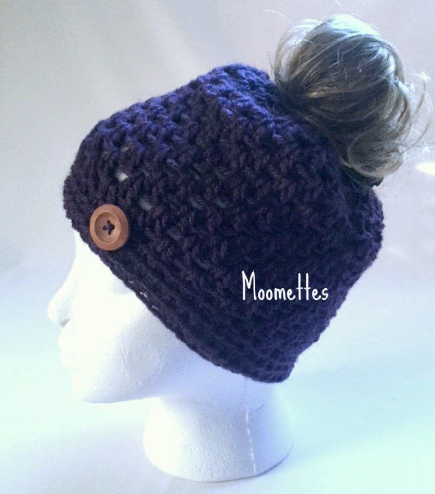 Handmade Messy Bun Hat Dark Purple Violet Beanie Wood