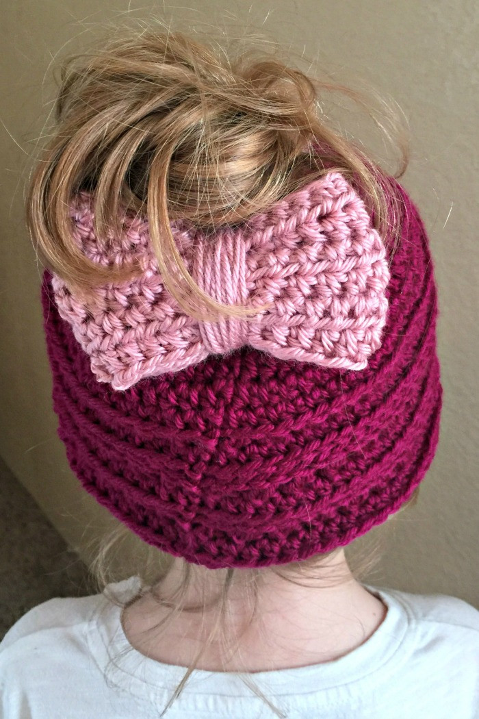 Messy Bun Hat with Adjustable Bow Crochet Pattern