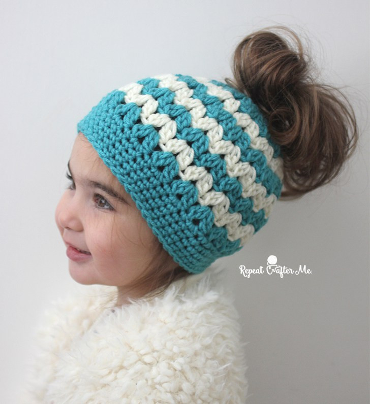 Bun Hat Luxury Crochet Mommy and Me Messy Bun Hats Repeat Crafter Me Of Great 46 Models Bun Hat