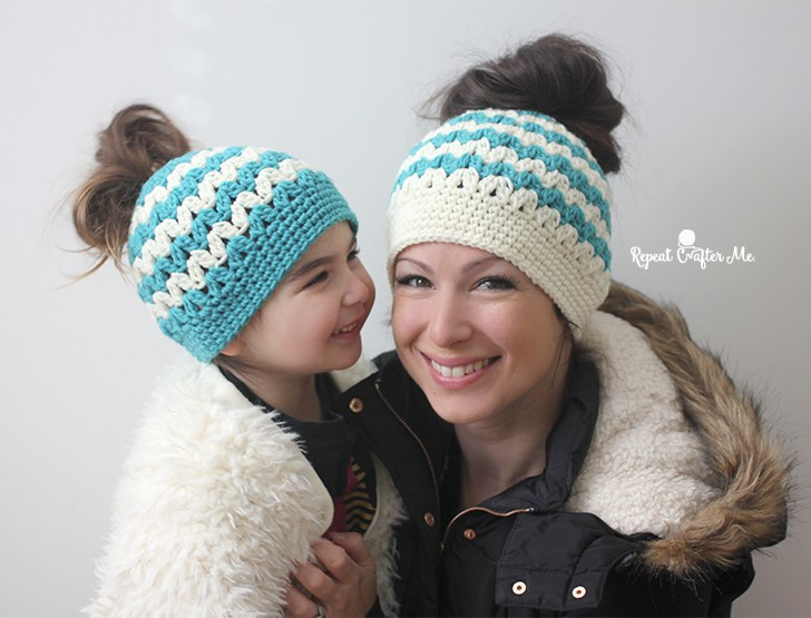 Bun Hat New Crochet Mommy and Me Messy Bun Hats Repeat Crafter Me Of Great 46 Models Bun Hat