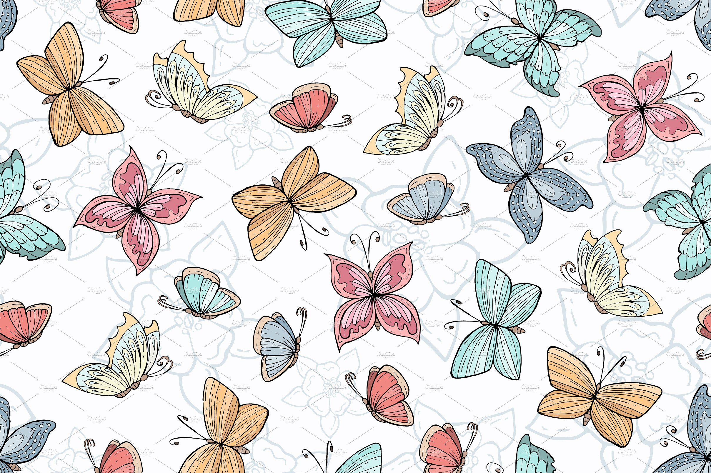 Pattern with hand drawn butterflies Graphic Patterns