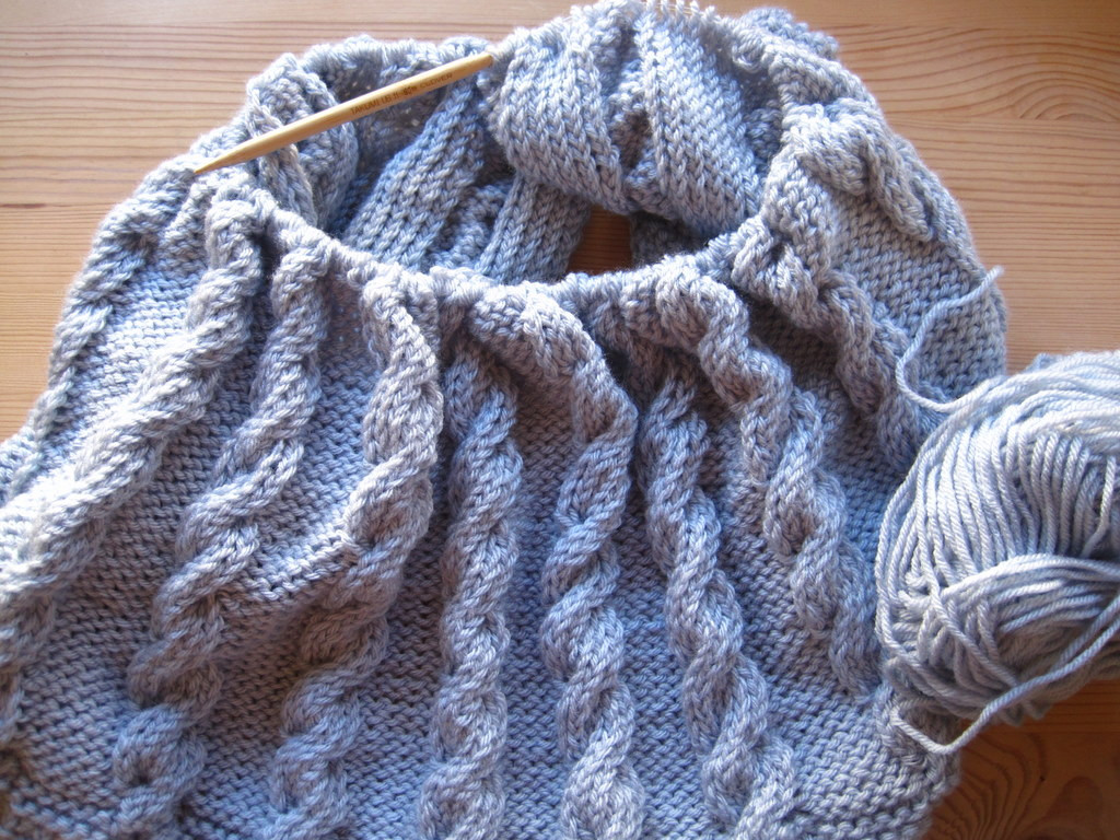 Work in Progress Cable Knit Blanket