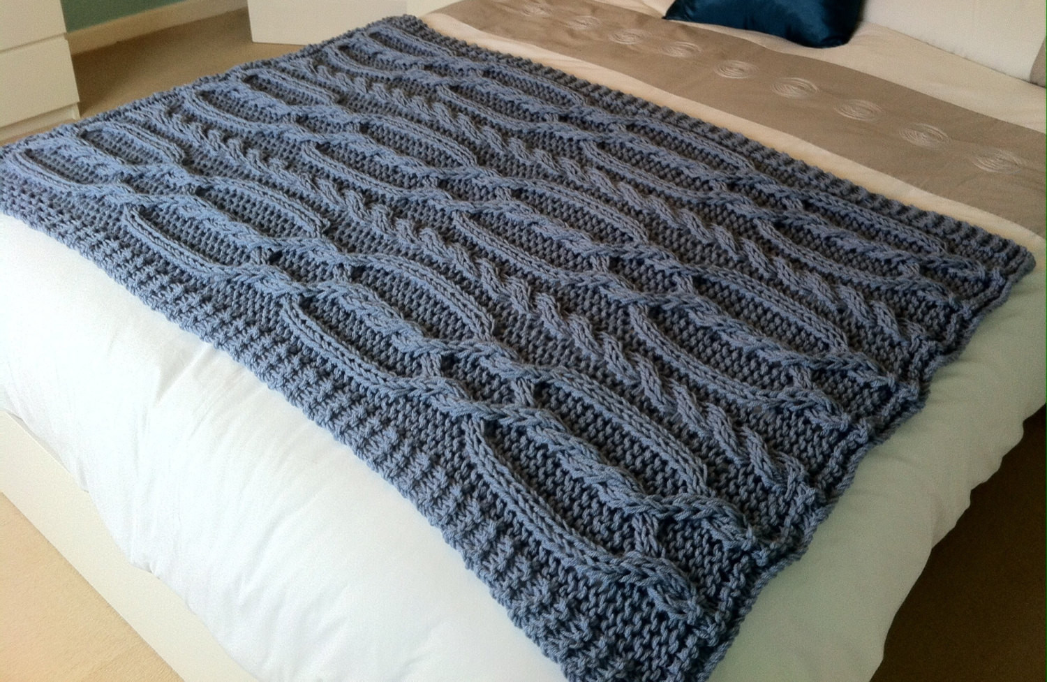 Chunky cable hand knit blanket throw Blue grey