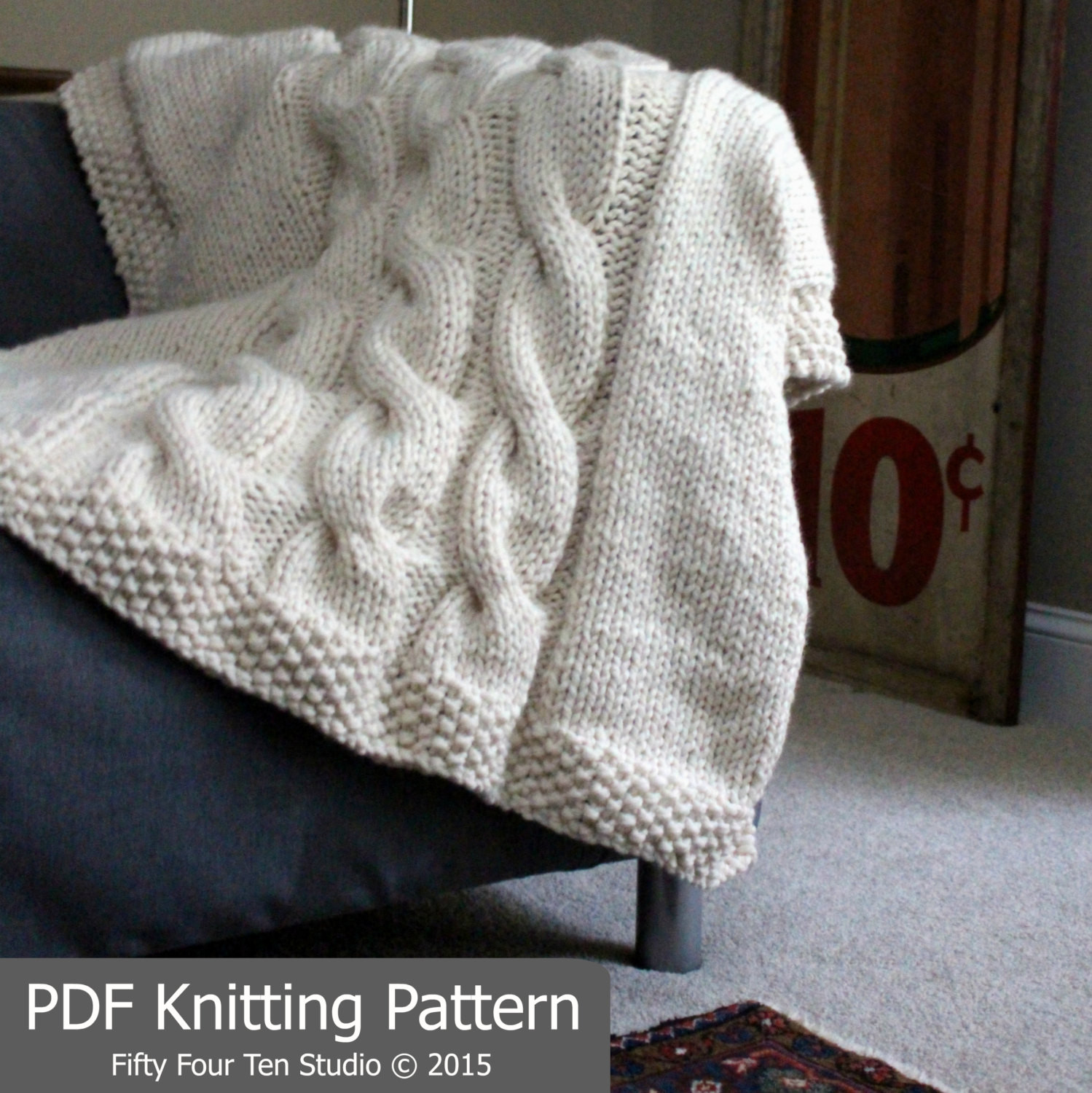 KNITTING PATTERN Blanket Throw Cable Knit Super Bulky