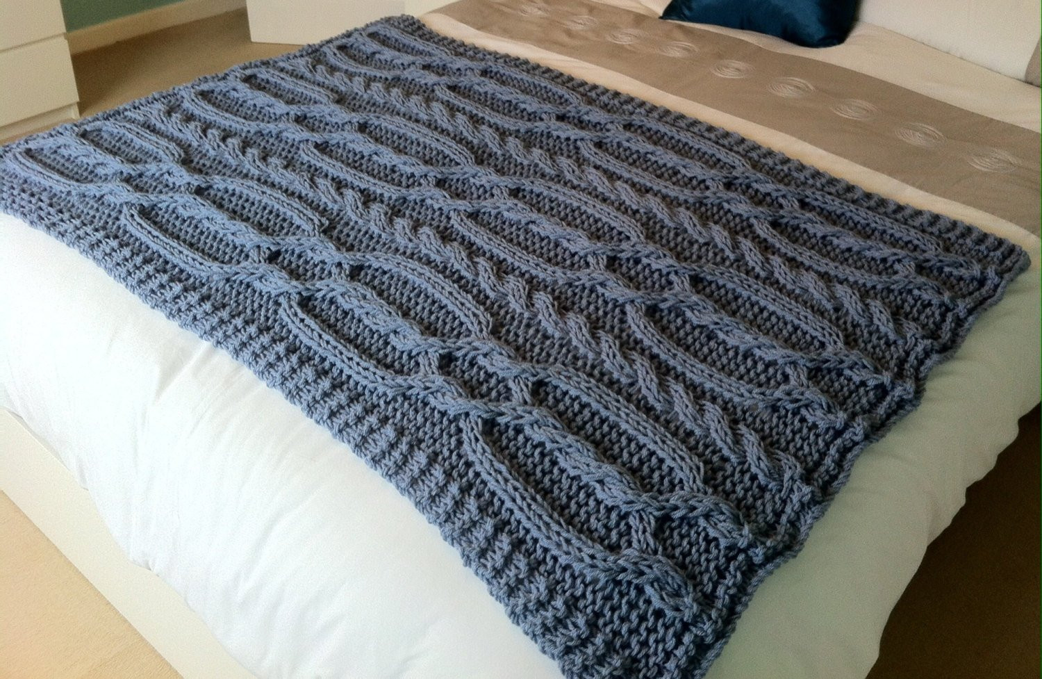 Cable Knit Throw Best Of Chunky Cable Hand Knit Blanket Throw Blue Grey Of Charming 49 Models Cable Knit Throw