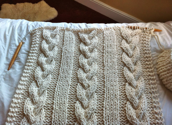 large cable knit throw Crochet and Knit