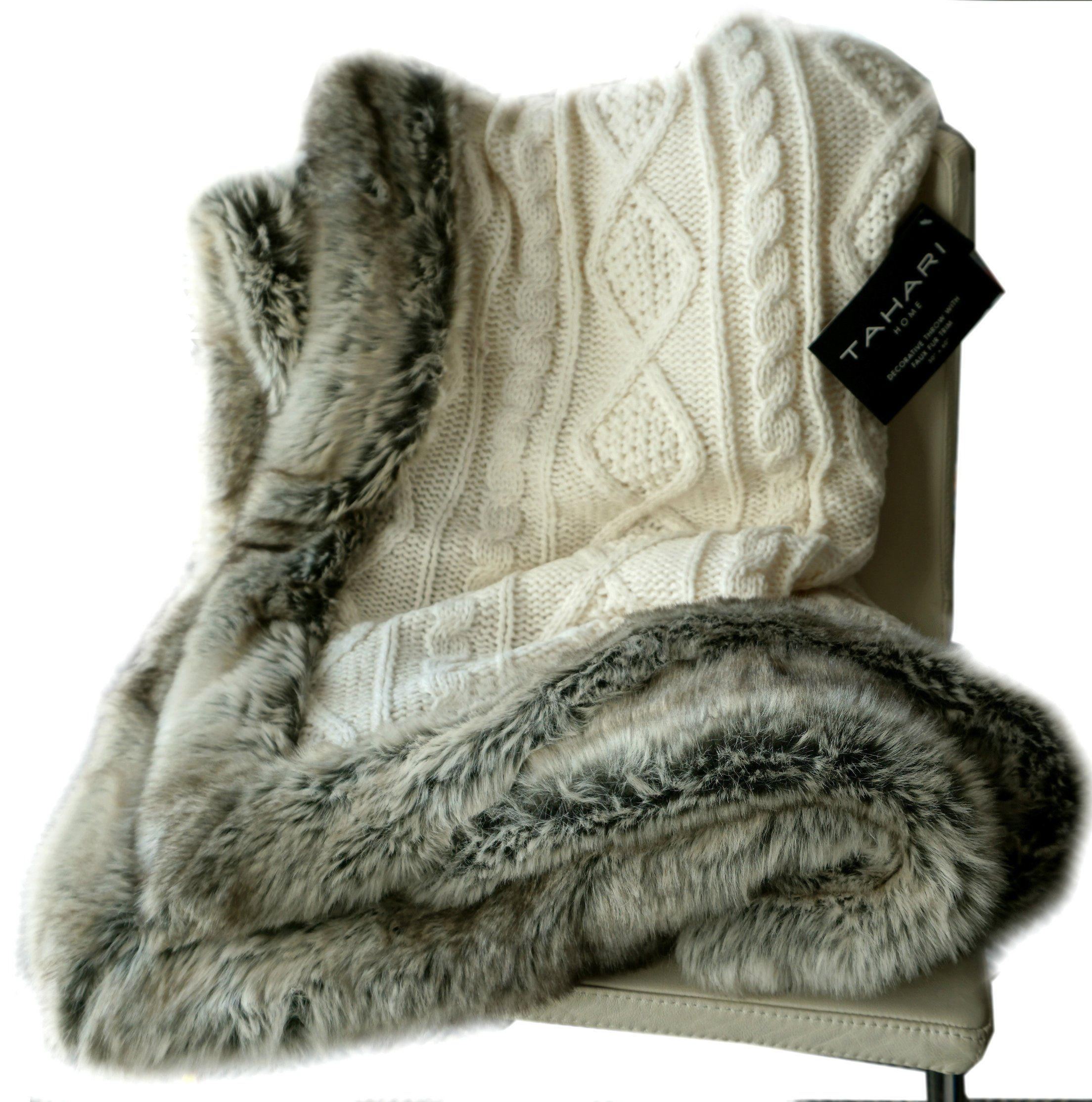 Cable Knit Throw Inspirational Amazon Tahari Luxury Cable Knit Throw with Faux Fur Of Charming 49 Models Cable Knit Throw