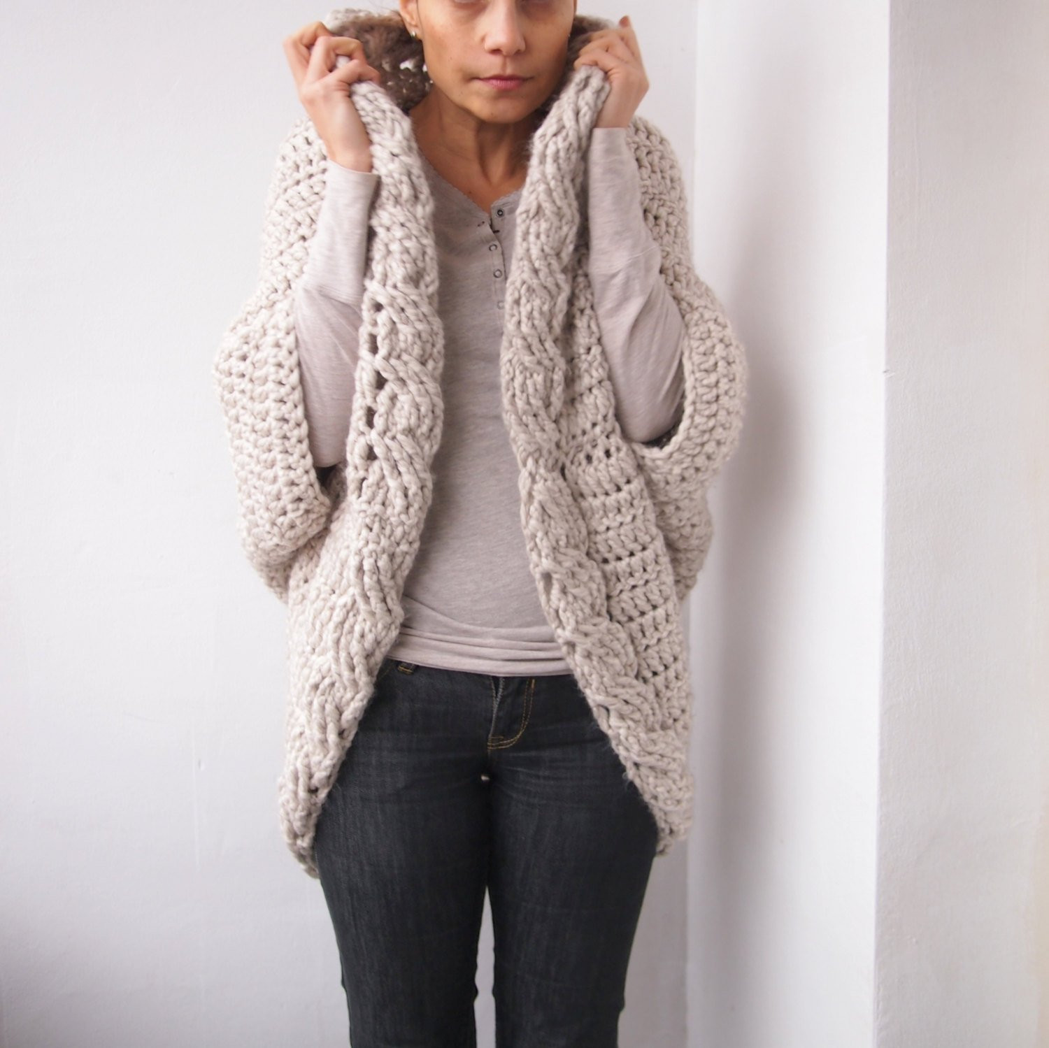Cardigan Pattern Inspirational Crochet Pattern Cable Women Cocoon Shrug Bulky Coat Cardigan Of Superb 46 Images Cardigan Pattern