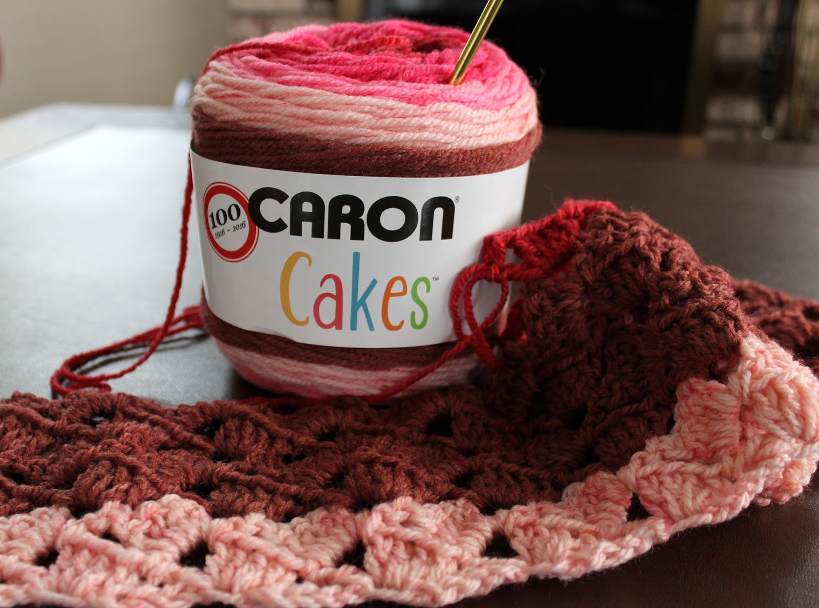 Lacy Crochet My First Caron Cakes in Cherry Chip Yarn Review