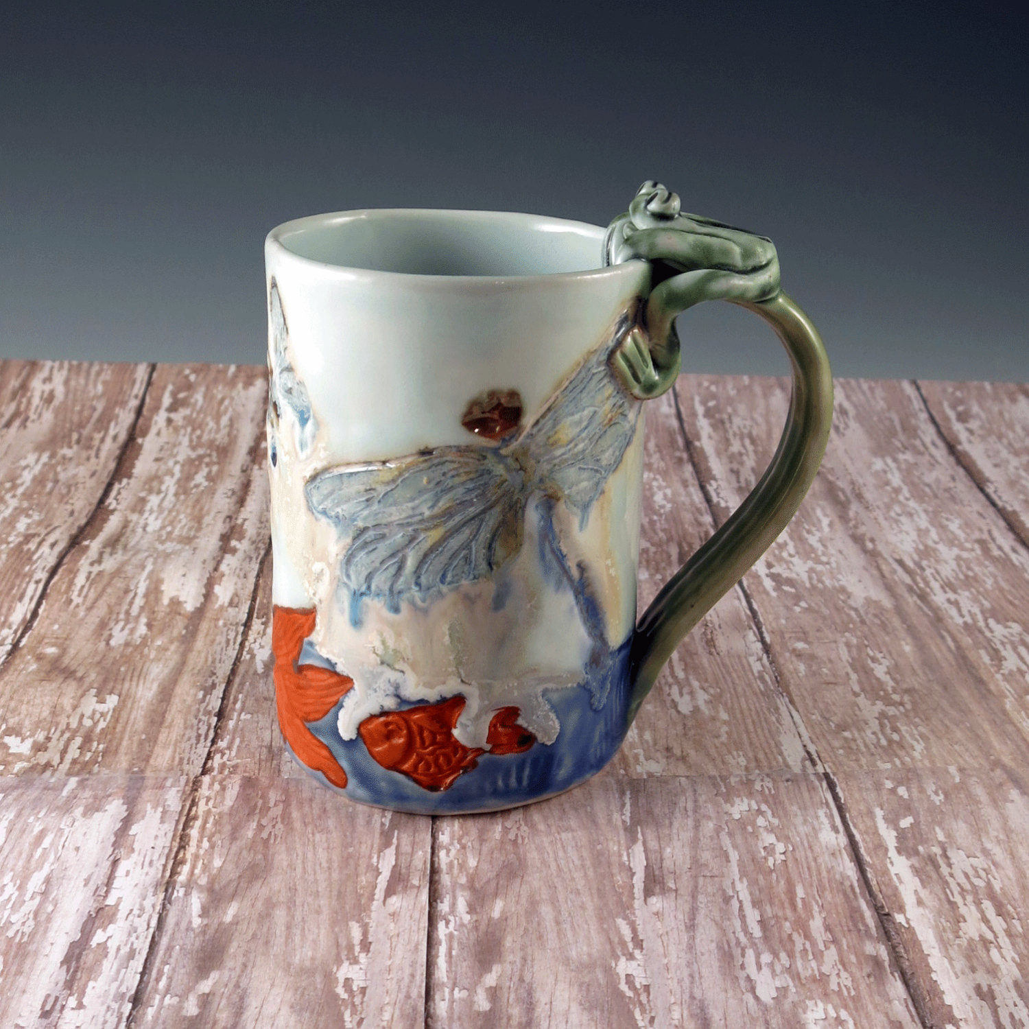 Ceramic Clay Luxury Porcelain Waterlily Pottery Mug with Fish Dragonfly Frog Of Marvelous 43 Models Ceramic Clay