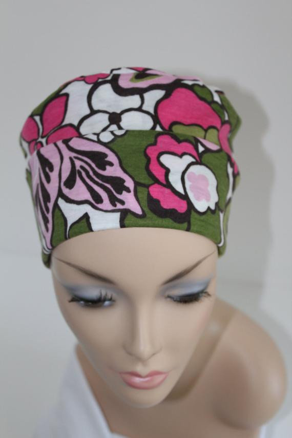 Chemo Hats Cancer Cap Cotton Jersery Knit in Pink and Green