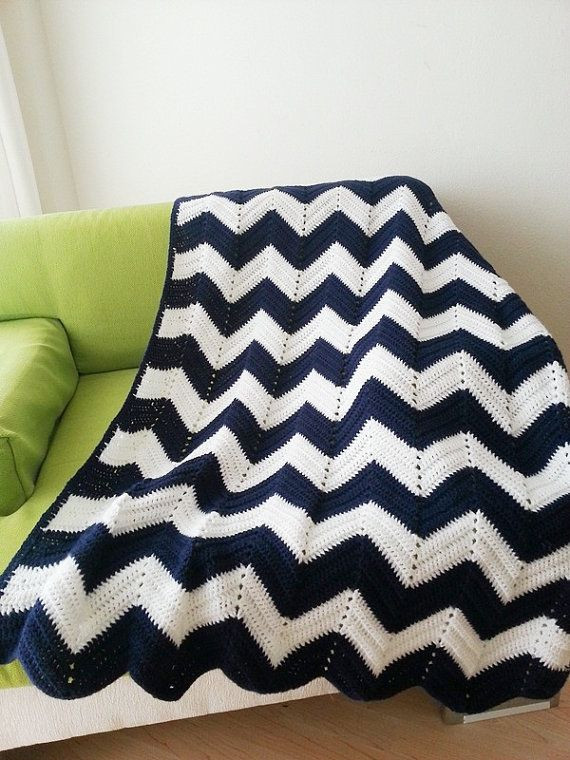 "Chevron Afghan Pattern Unique 42"" X 60"" Geometric Blue White Zig Zag Chevron Blanket Of Top 40 Ideas Chevron Afghan Pattern"