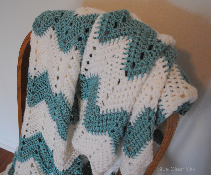 Rustic Maple Chevron Crocheted Afghan