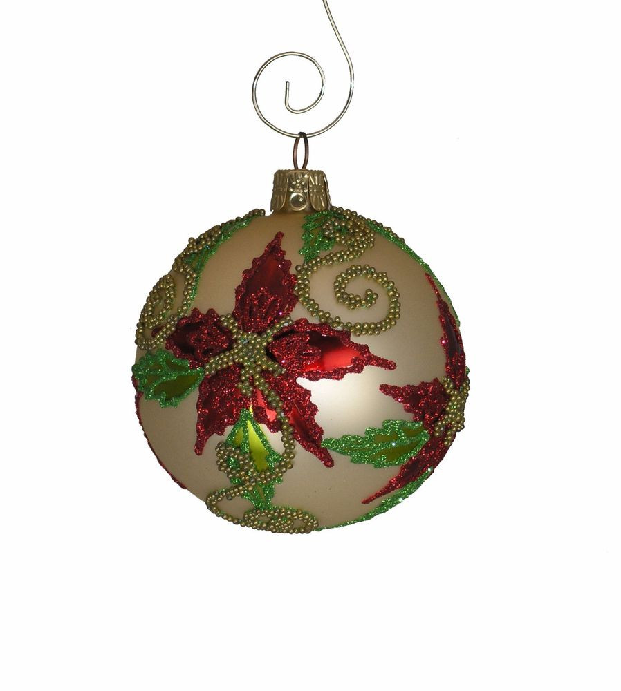 """Christmas Ball ornaments Luxury Beaded Poinsettia 3"""" Glass Ball ornament Of Charming 42 Pictures Christmas Ball ornaments"""