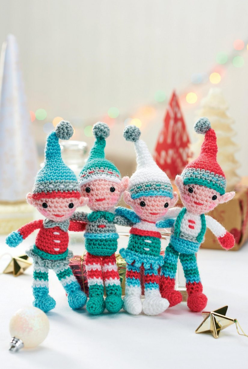 Christmas Crochet Patterns Unique A Family Of Crocheted Christmas Elves Crochet Pattern Of Brilliant 49 Ideas Christmas Crochet Patterns