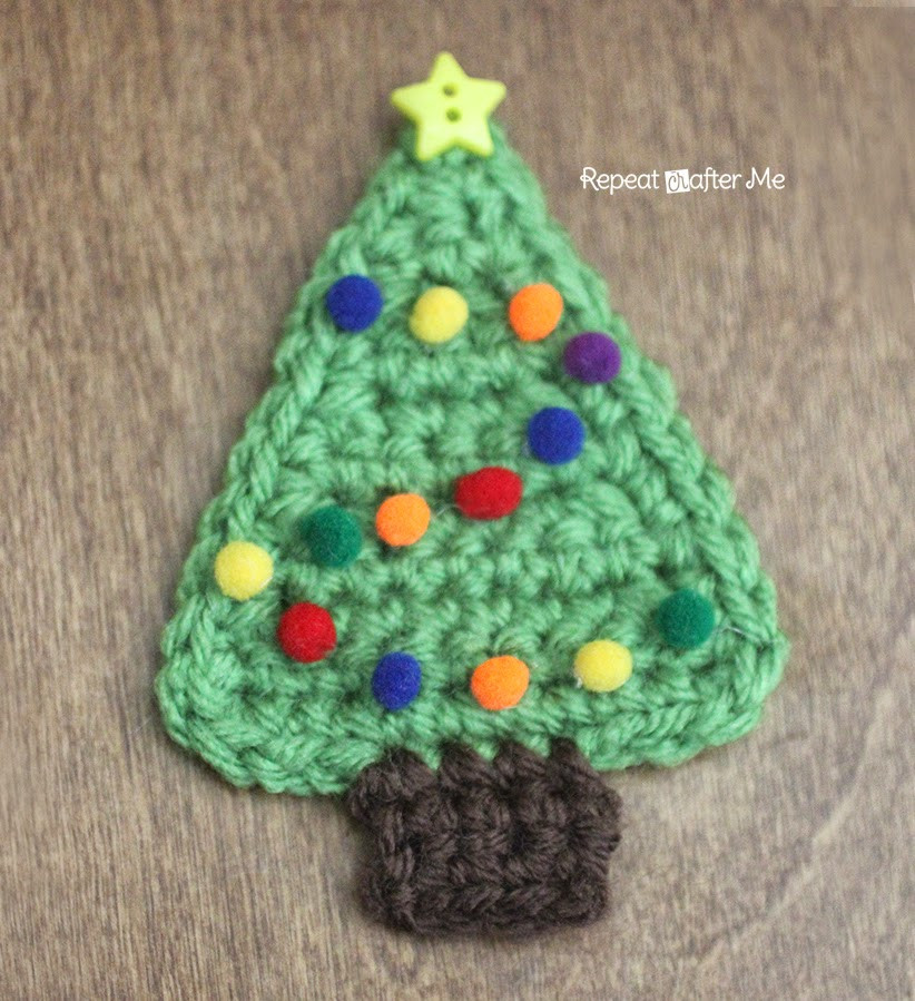 Crochet Christmas Tree Applique Repeat Crafter Me
