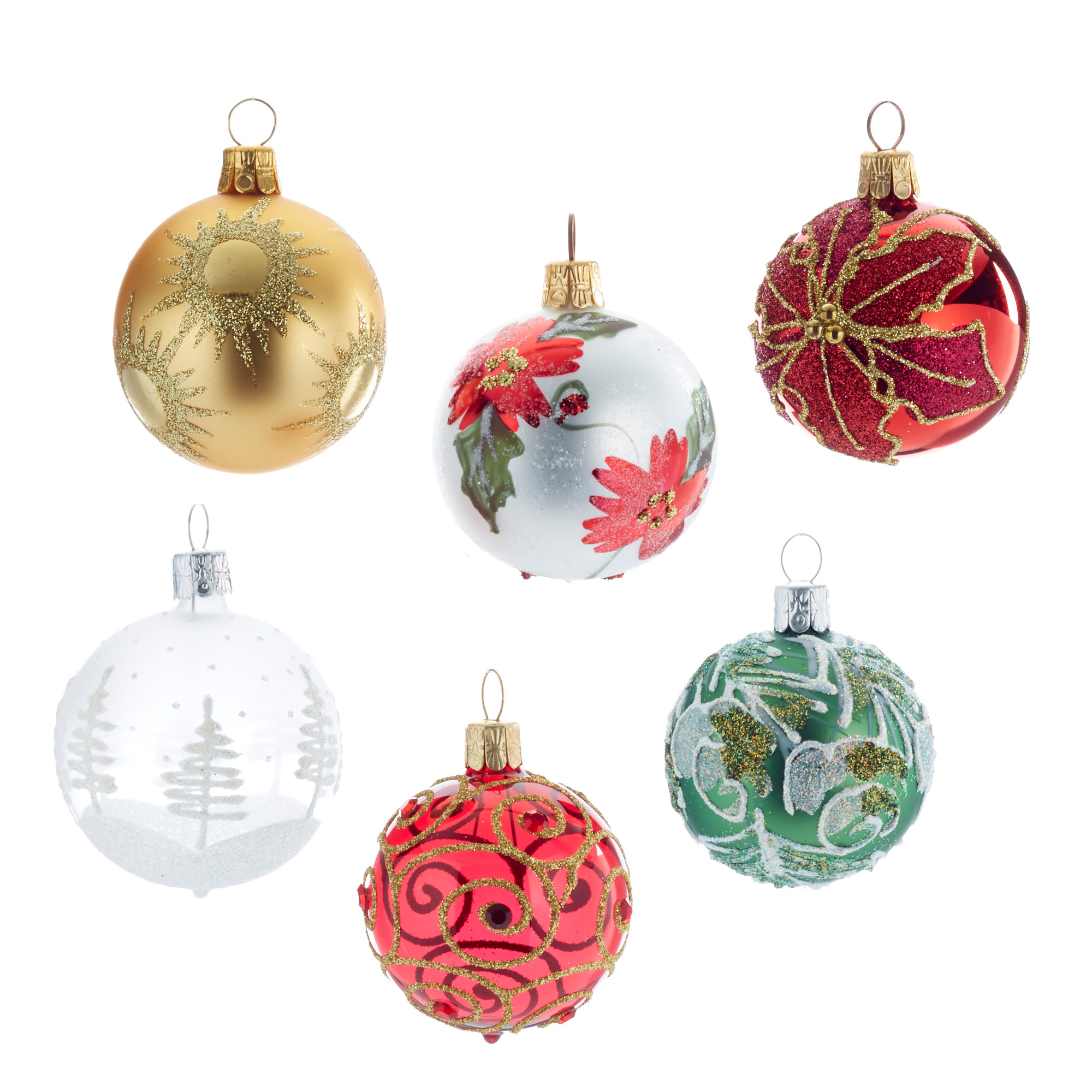 Happy Holidays Christmas Ornaments Set of 6