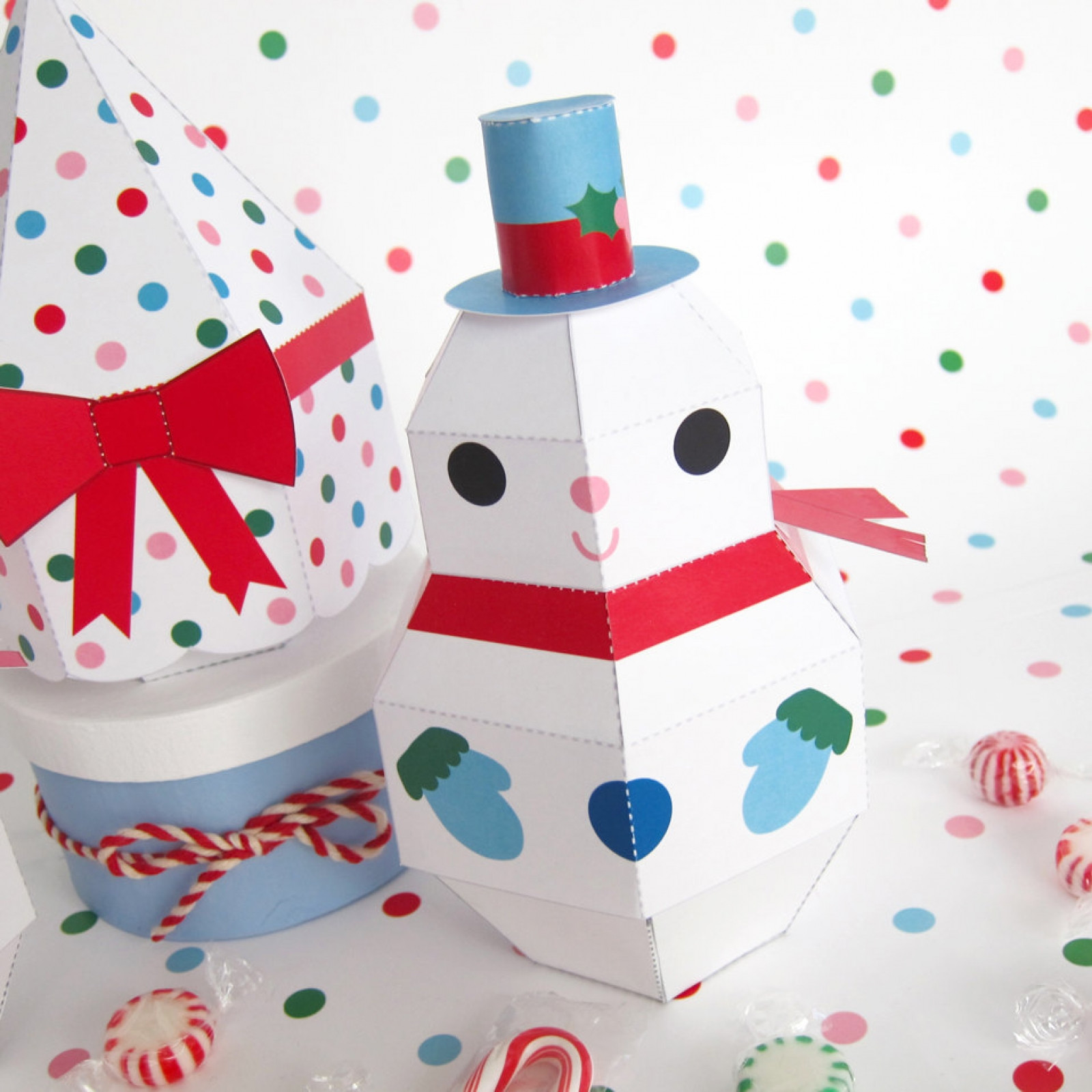 Christmas Paper Crafts Lovely Snowman Snowgirl and Tree Treat Boxes Printable Paper Of Adorable 49 Pictures Christmas Paper Crafts