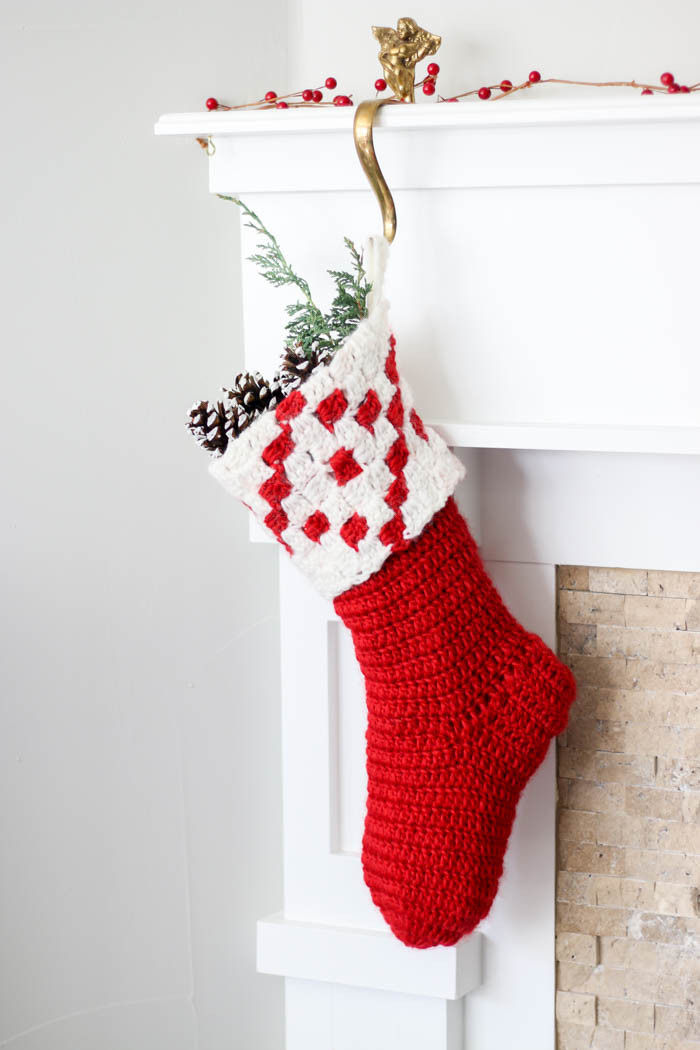 Nordic Crochet Christmas Stocking Free Pattern from Make