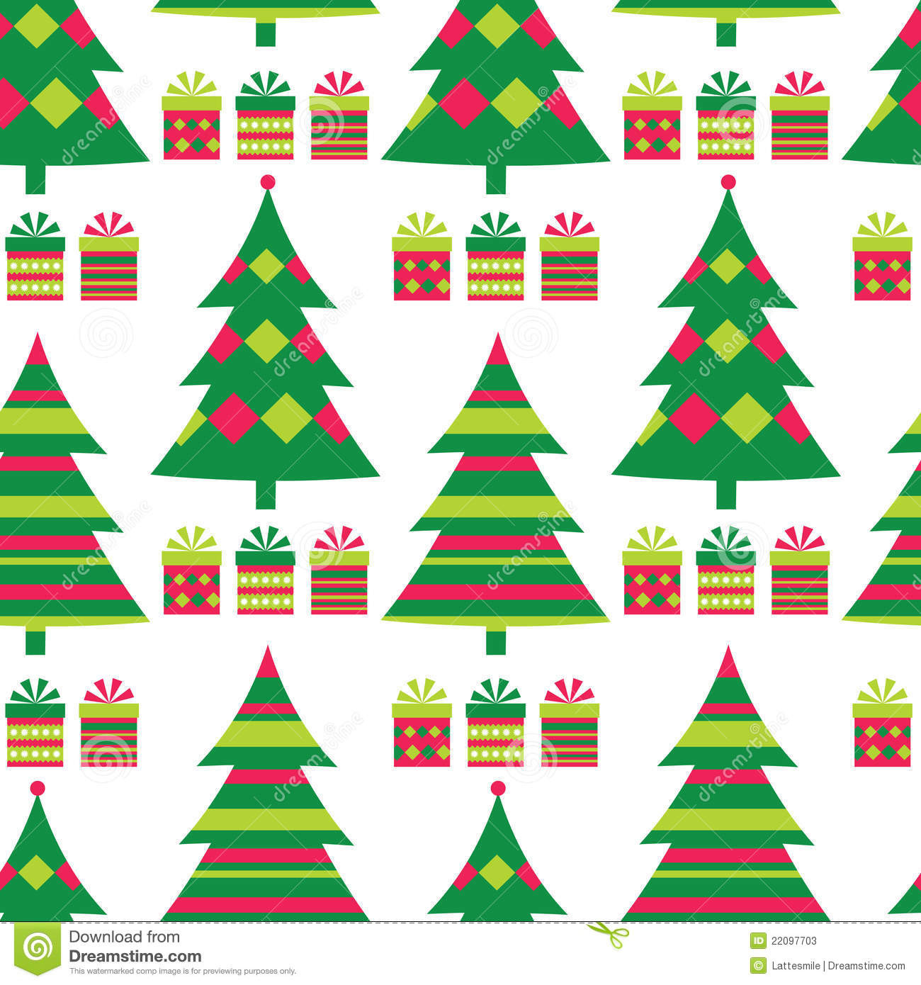 Christmas Tree Seamless Pattern Stock Vector