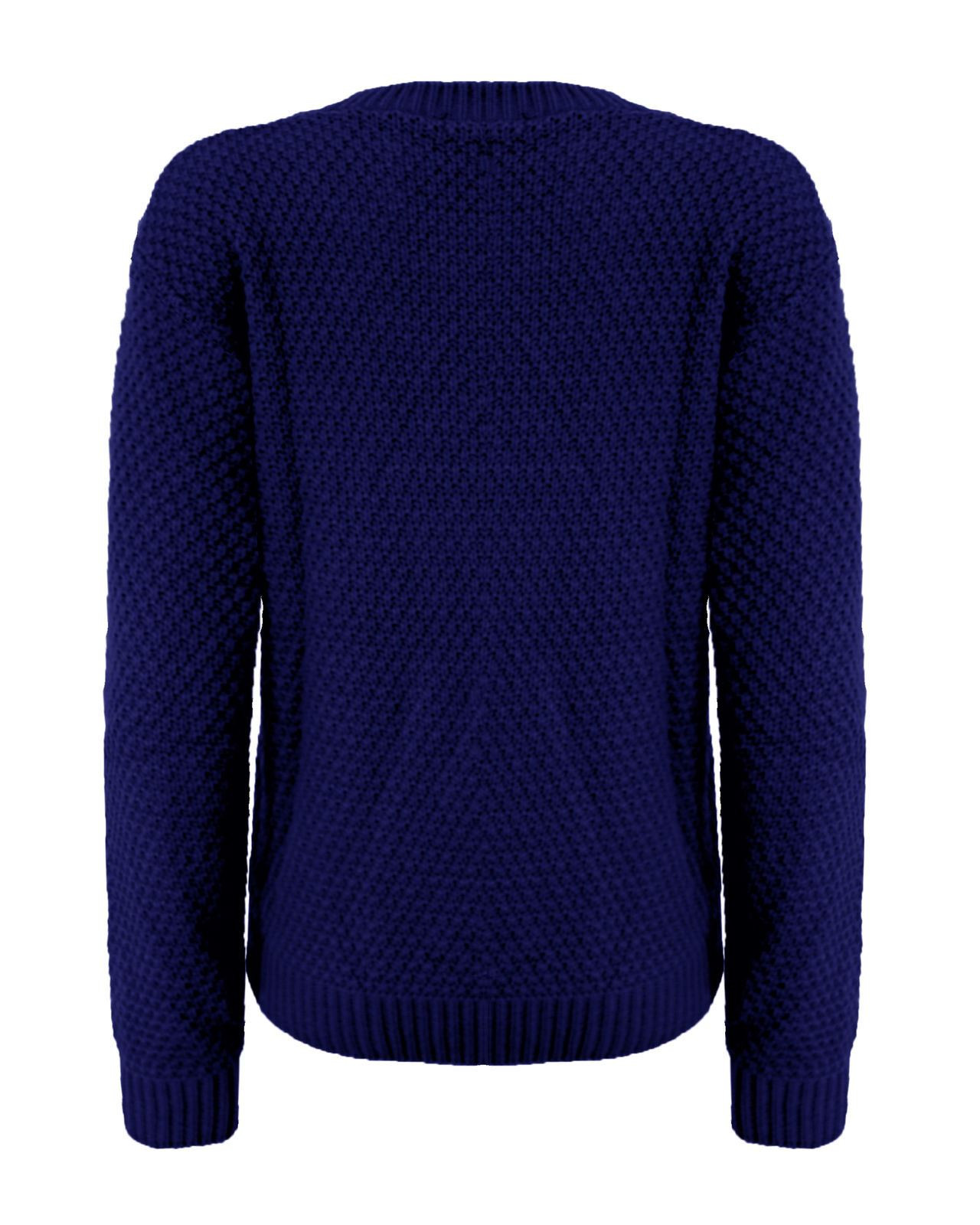 La s Women Knitted Crew Neck Long Sleeve Cable Knit
