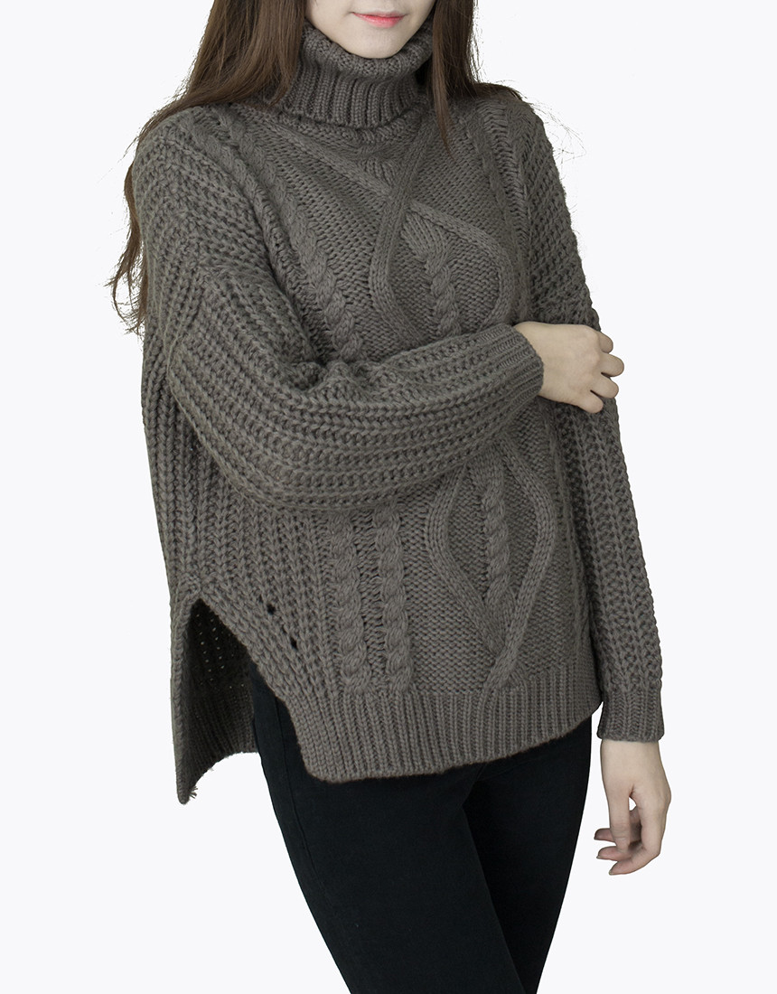 Chunky Cable Knit Turtleneck Sweater Sweater Grey