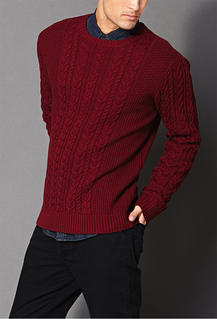 Chunky Cable Knit Sweater Inspirational forever 21 Chunky Cable Knit Sweater In Red for Men Of Attractive 42 Images Chunky Cable Knit Sweater