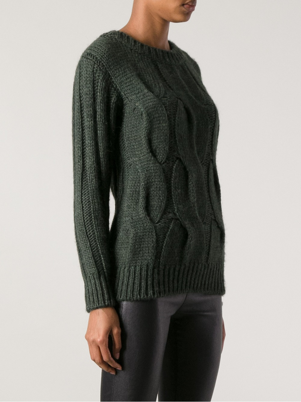 Lyst Moncler grenoble Chunky Cable Knit Sweater in Green