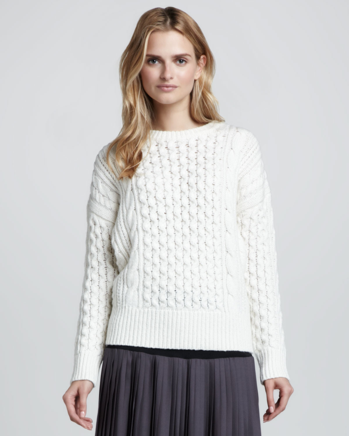 Chunky Cable Knit Sweater Luxury Rebecca Taylor Chunky Cable Knit Sweater In White Of Attractive 42 Images Chunky Cable Knit Sweater