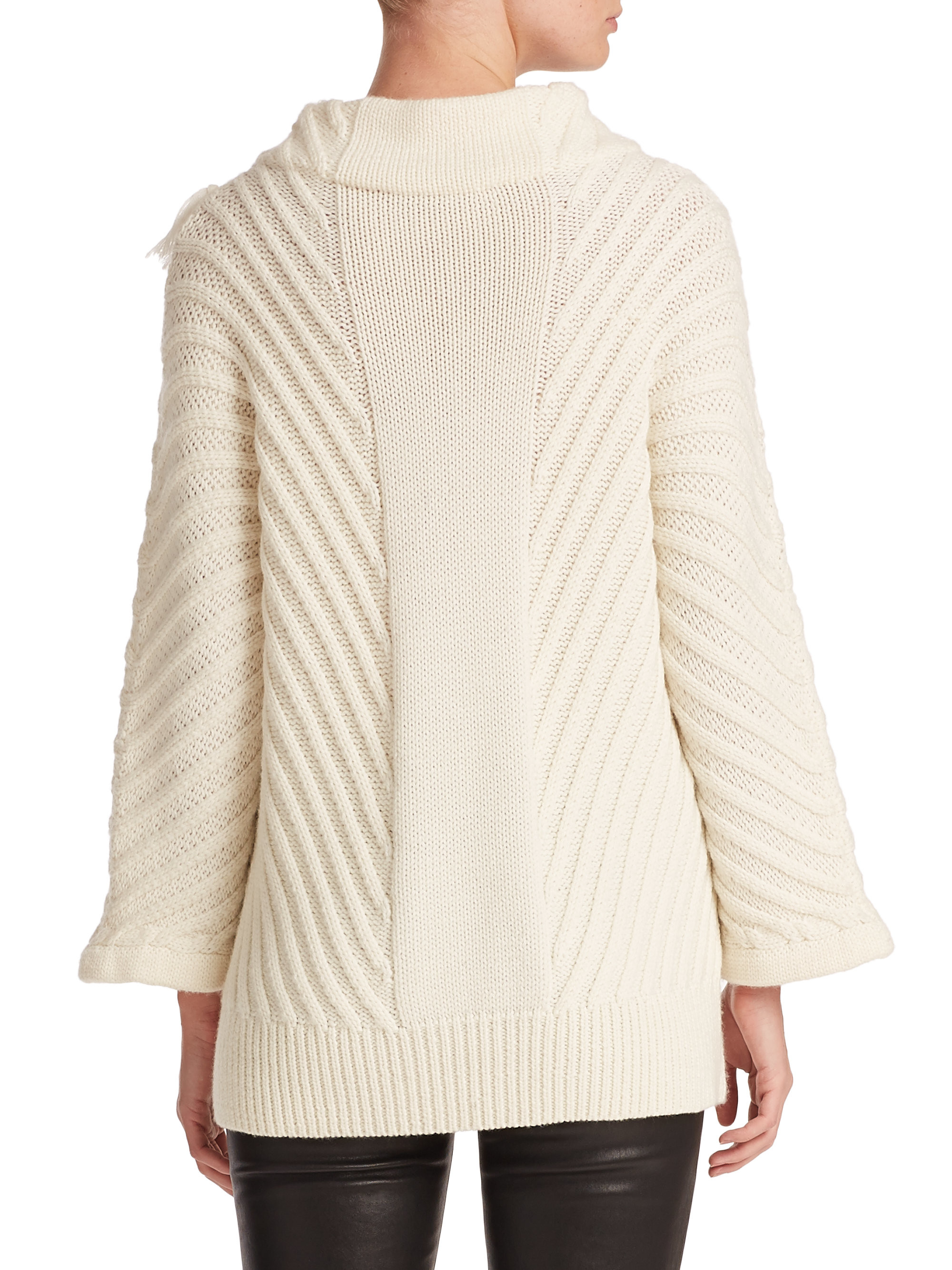 Tess giberson Chunky Cable knit Sweater in White