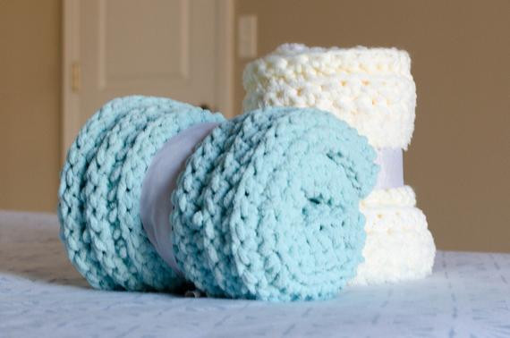 Chenille Baby Blanket Soft Chunky Stitch Crocheted with