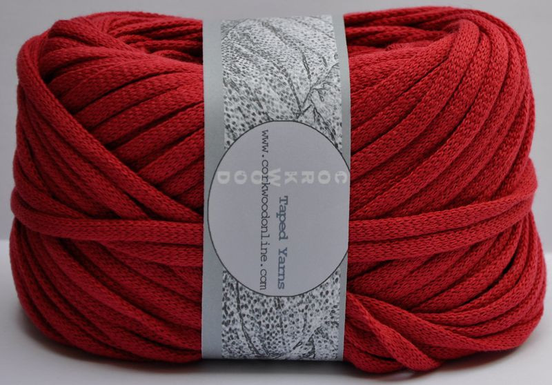 Cherry red Chunky Tape yarn for knitting weaving and