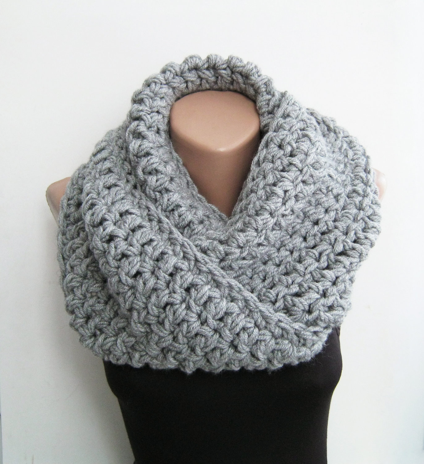 Chunky Crochet Scarf Elegant Knitted Snood Gray Chunky Scarf Crochet Infinity by Sascarves Of New 44 Pics Chunky Crochet Scarf
