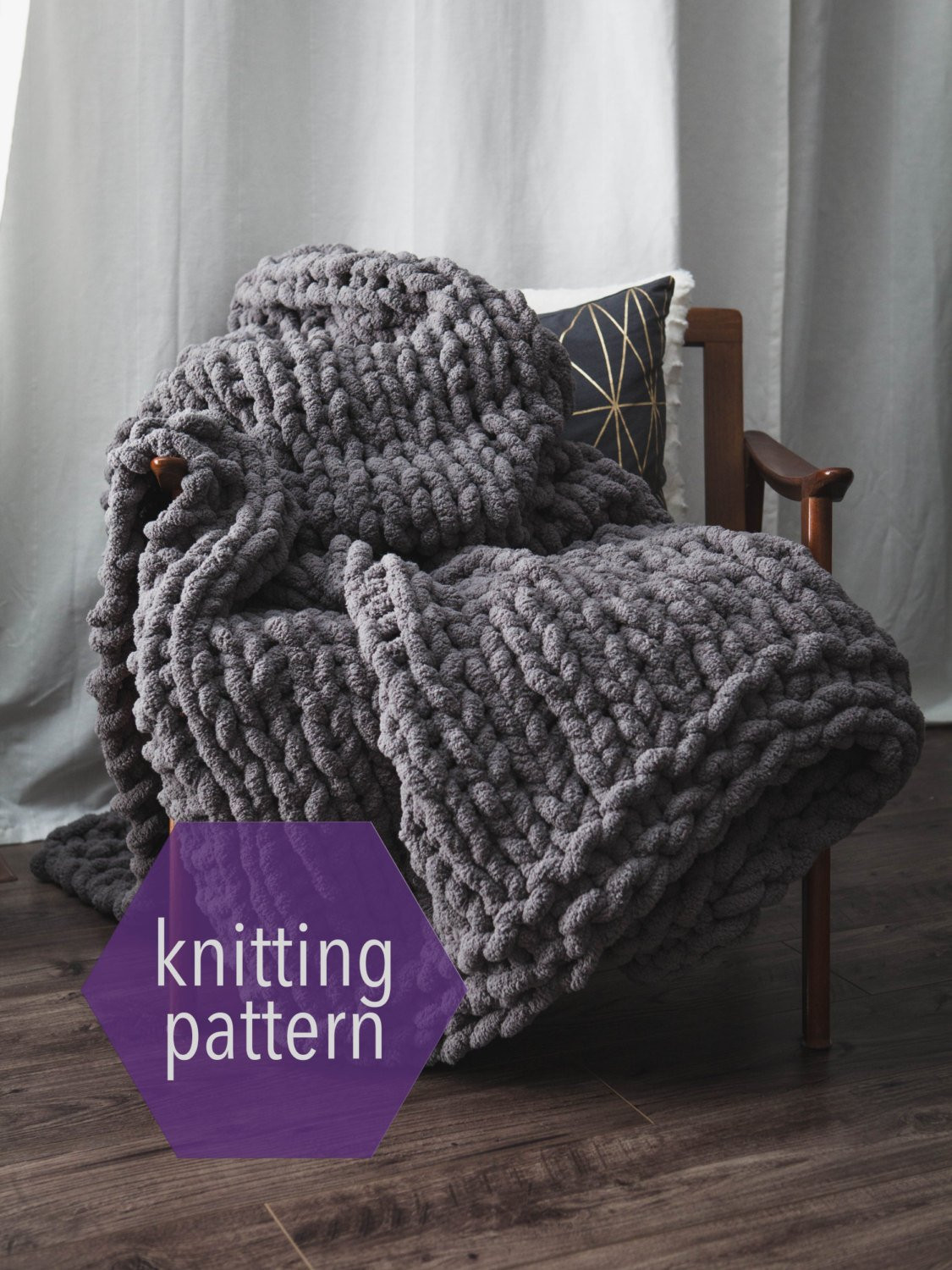 Huge Chunky Knit Blanket Knitting Pattern Instant Download