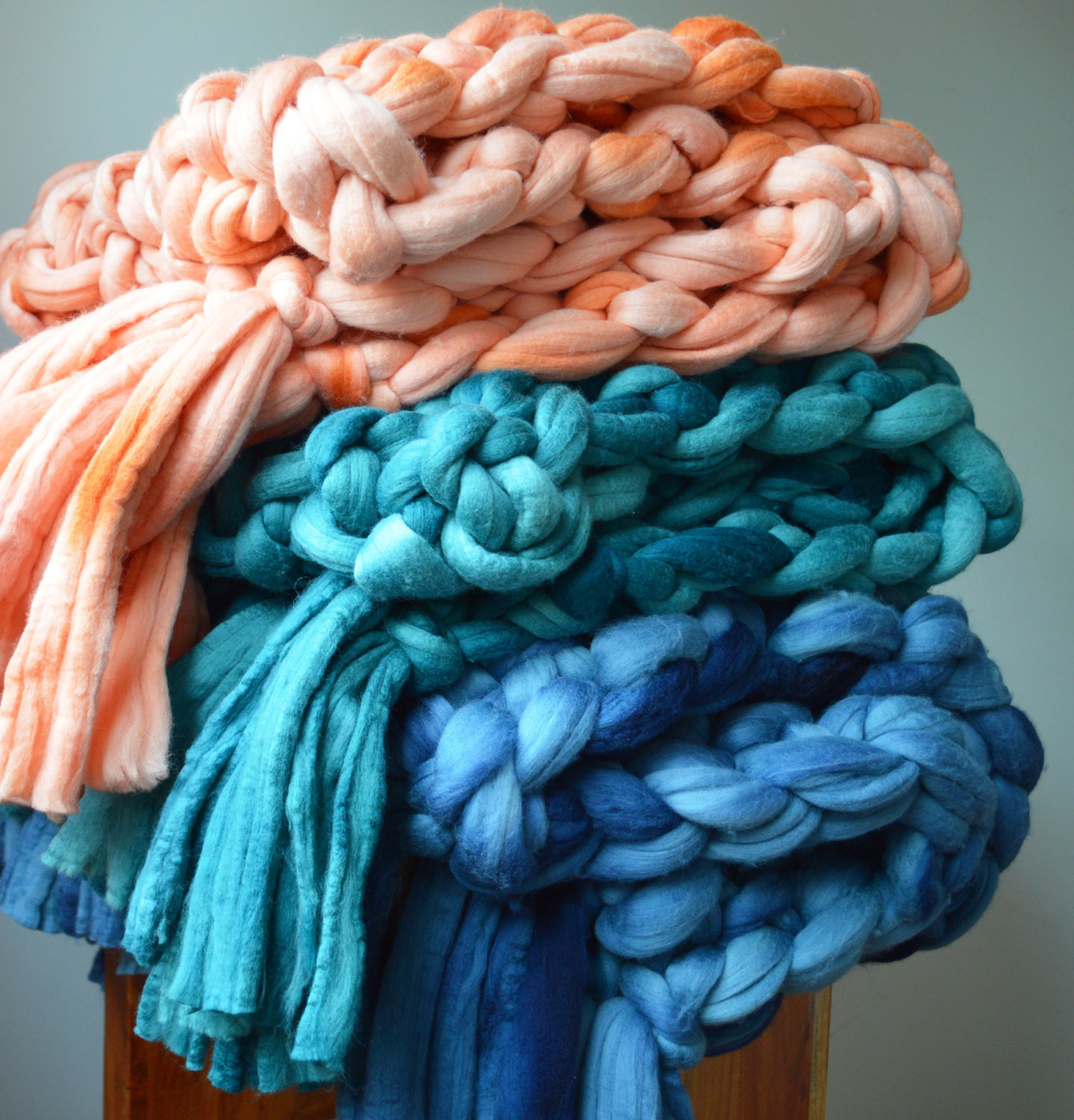 Chunky Knit Blankets Merino Wool Throws with Tassels