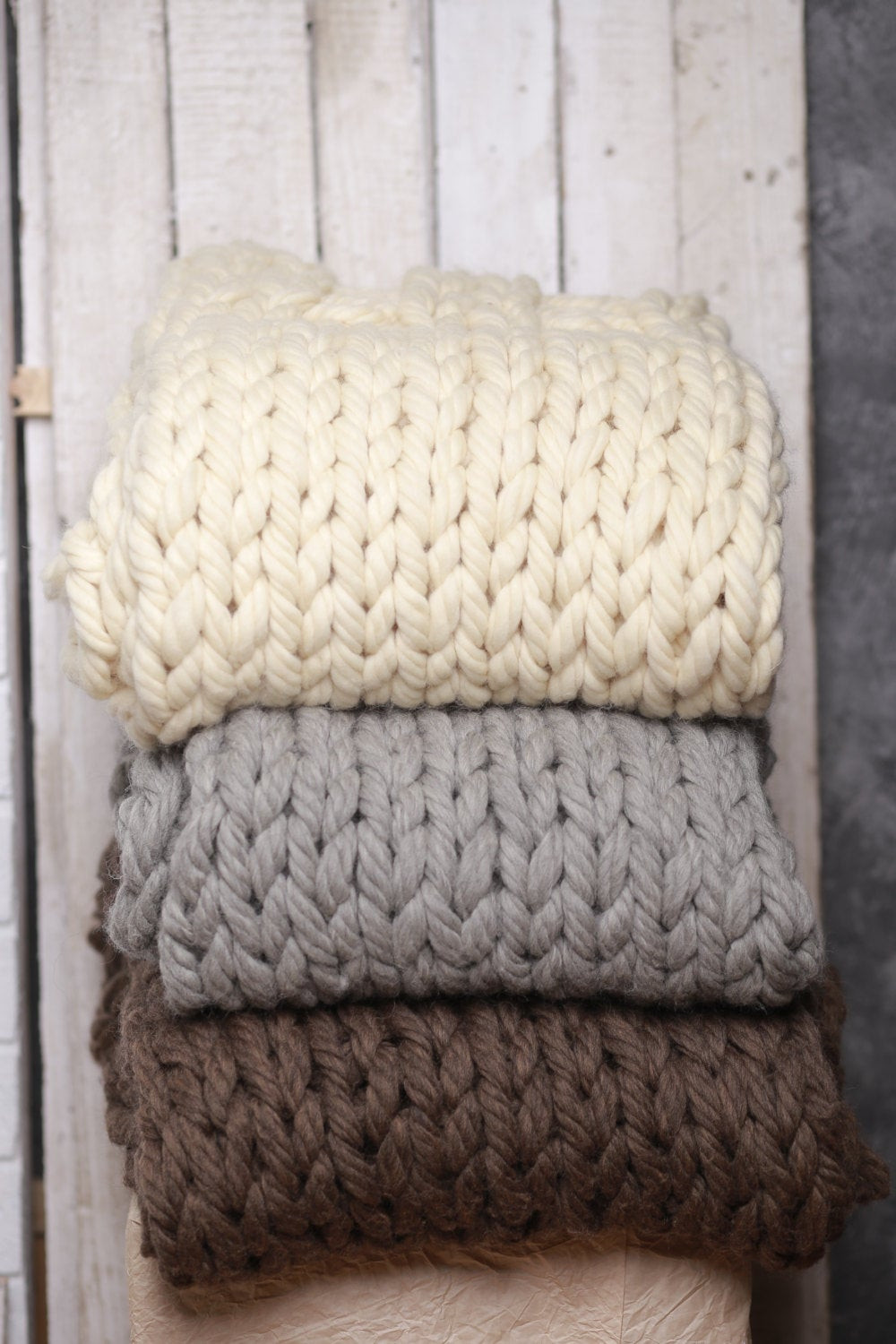 Wool blanket Chunky knitted throw Wool throw Super bulky