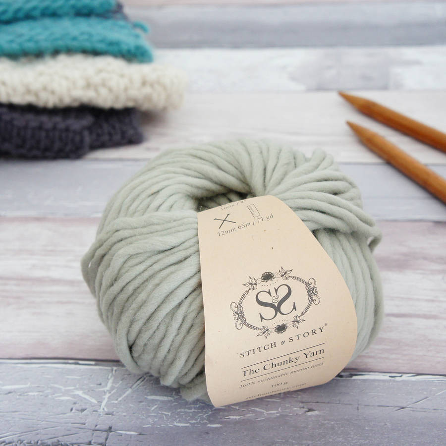 super chunky merino knitting wool yarn in olive pastel