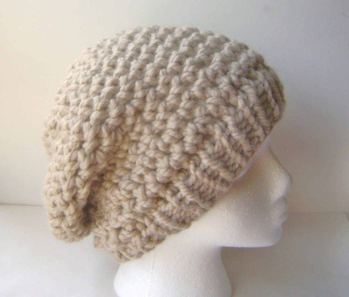 PDF Crochet Pattern Chunky Crochet Slouch Hat with Knit or