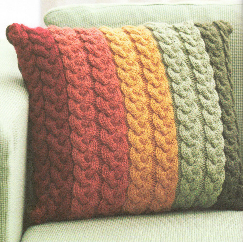 """Chunky Wool Cable Cushion Knitting Pattern 16"""" Knit in"""