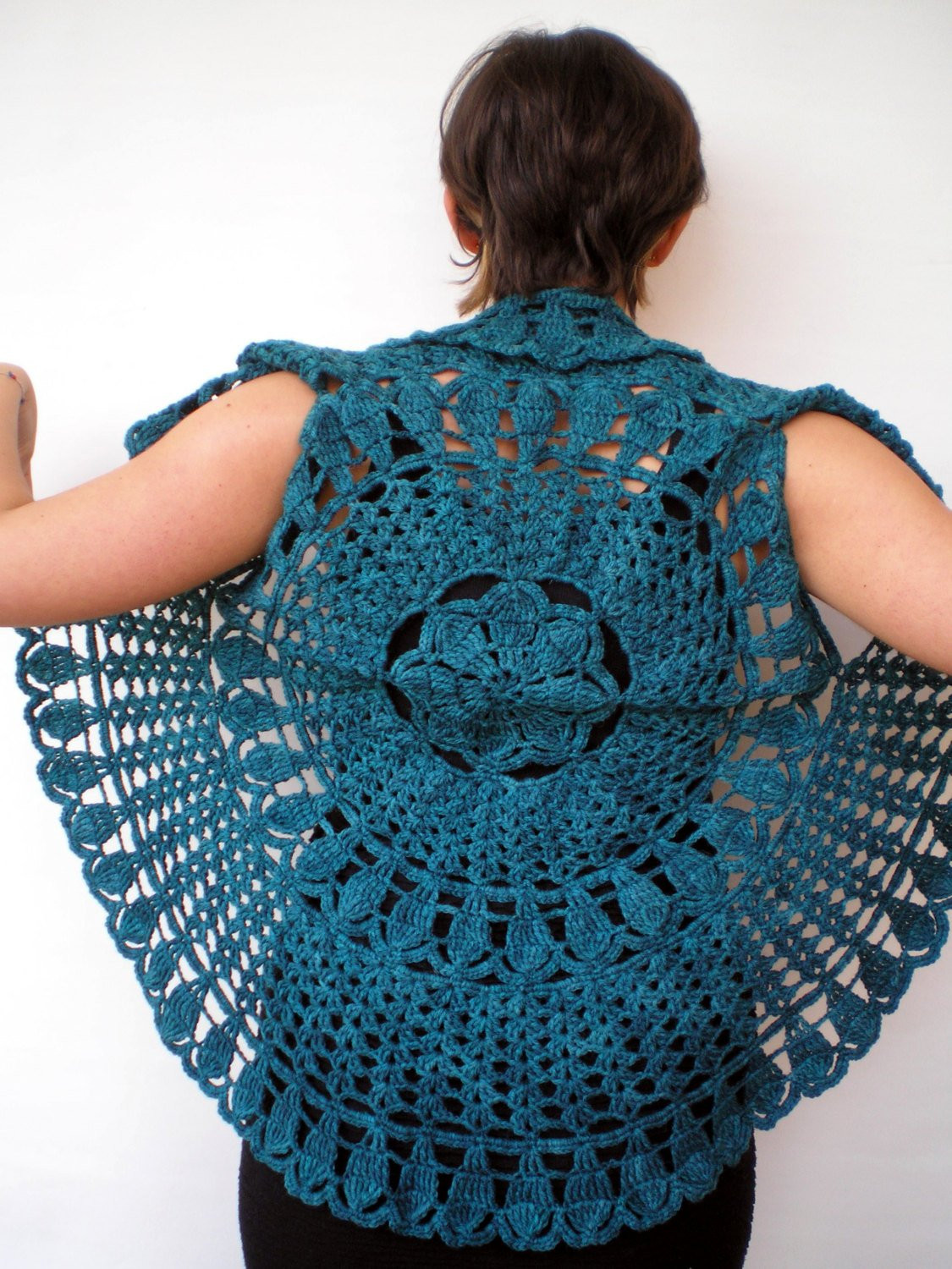 Circle Crochet Elegant Mandala Fashion Shrug Green Vest Woman Hand Crocheted Circle Of Amazing 40 Photos Circle Crochet