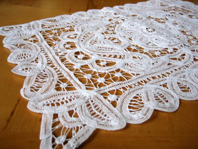 White Belgium Lace Doily Tray Cloth