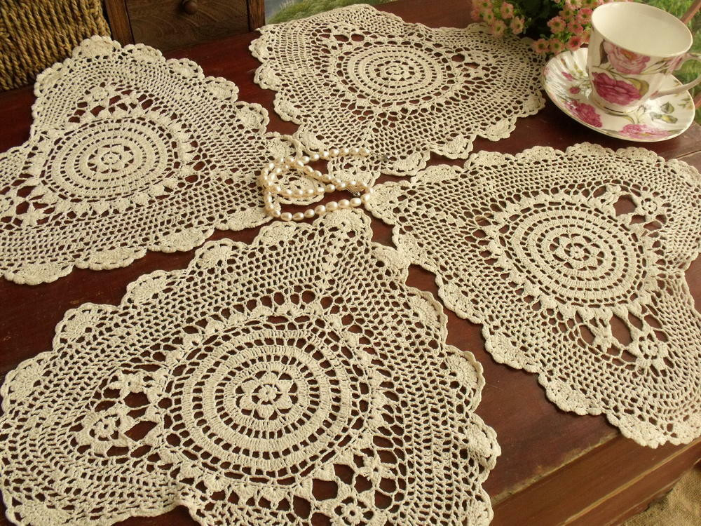 Cloth Lace Doilies Inspirational Set Of 4pcs Vintage Hand Crocheted Doily Lot Cotton Lace Of Top 48 Pics Cloth Lace Doilies