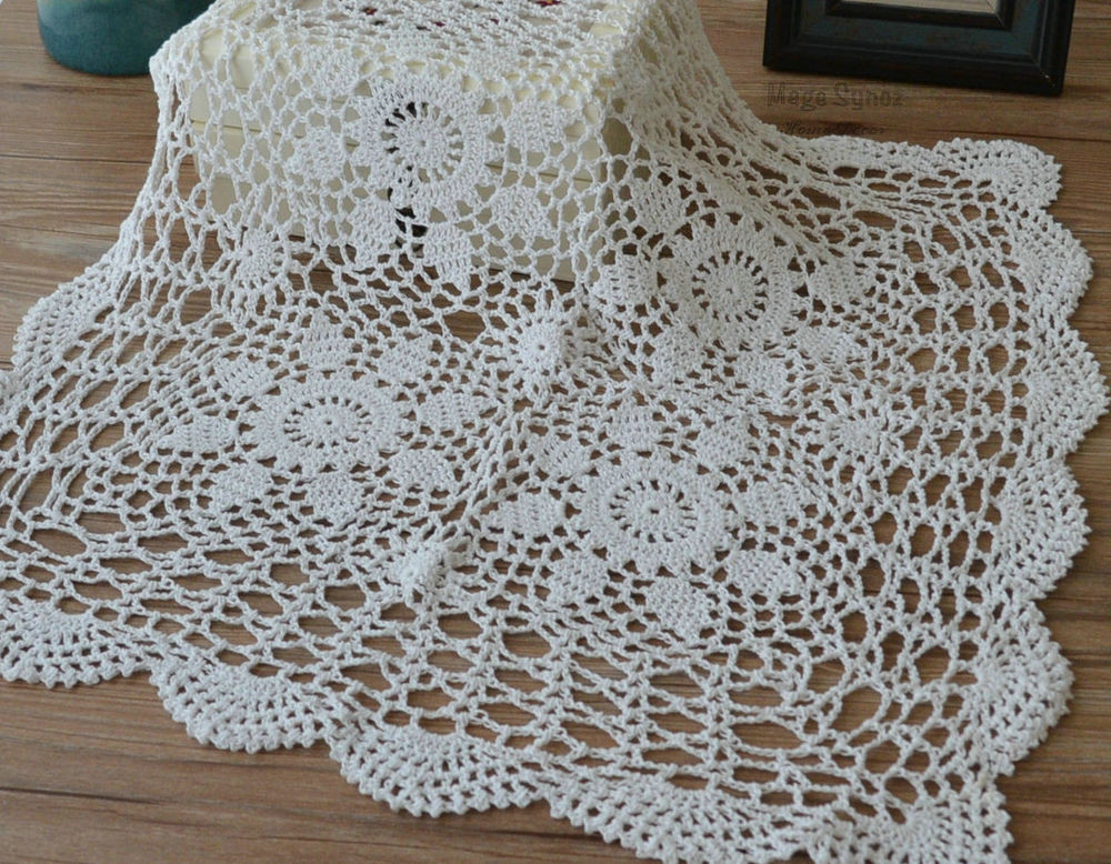 "Cloth Lace Doilies Lovely 23"" Square White Hand Crochet Lace Doily Victorian Floral Of Top 48 Pics Cloth Lace Doilies"