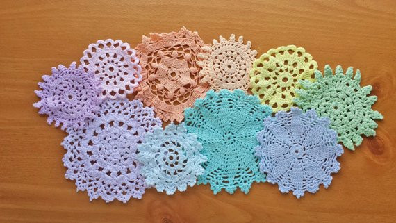 Colored Doilies Best Of Rainbow Of Light Colored Vintage Doilies Set Of by Of Gorgeous 42 Pics Colored Doilies