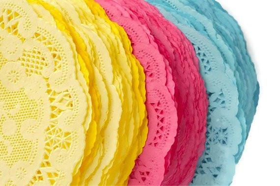 Paper doilies colored round French lace doilies hand dyed