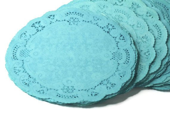 4 inch Teal colored paper doilies hand dyed round French