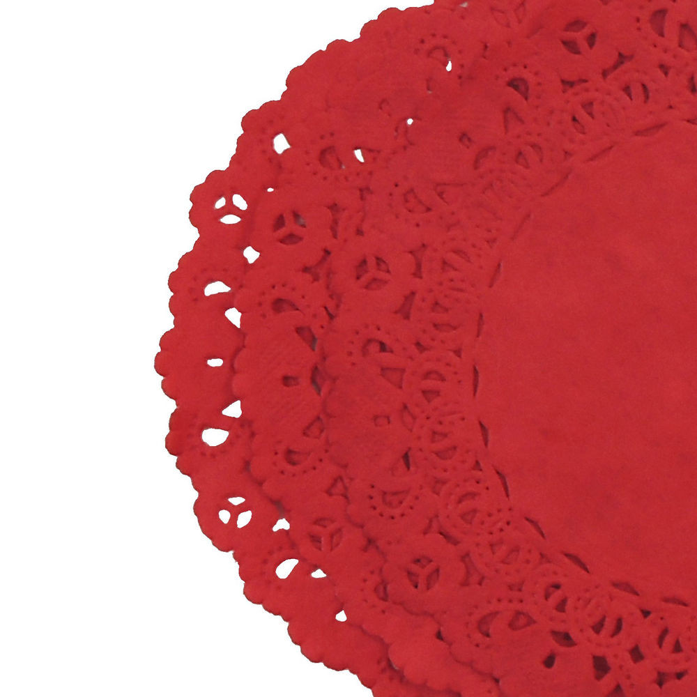 TRUE RED Colored PAPER LACE DOILIES